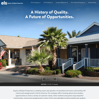 Equity LifeStyle Properties - Manufactured Home Communities, Rental Homes, Retirement Communities, RV Campgrounds
