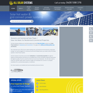 All Solar Systems - Solar Power - Solar Hot Water - Solar Panels Melbourne