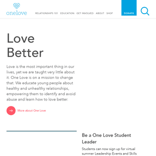 Learn to Love Better - One Love Foundation