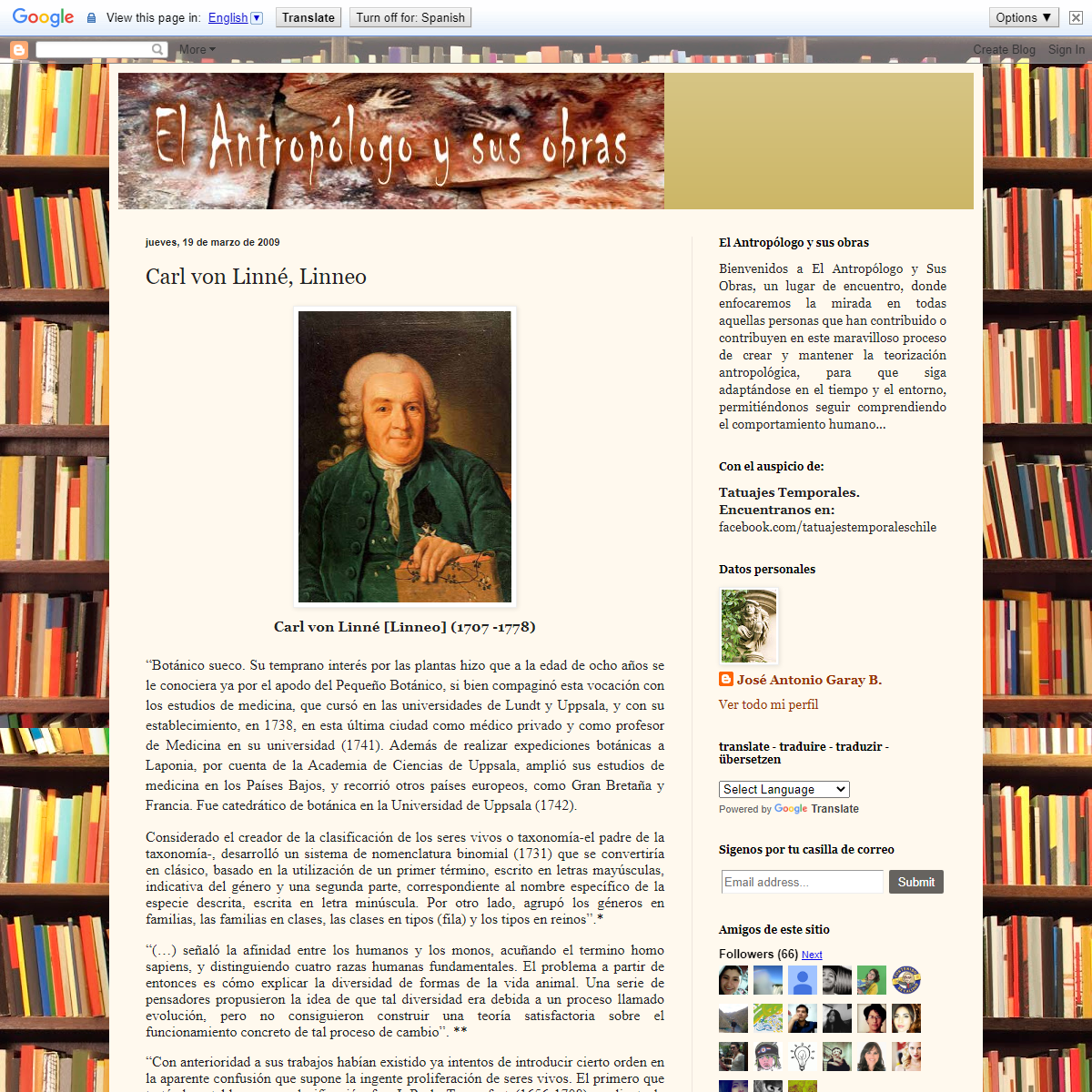 El Antropologo y sus Obras- Carl von Linné, Linneo