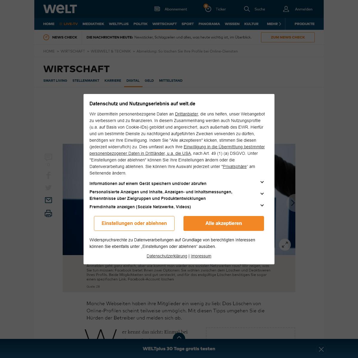 Abmeldung- So löschen Sie Ihre Profile bei Online-Diensten - WELT