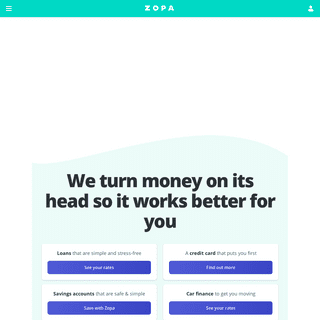 Zopa - Apply for a credit card or loan - Save or invest