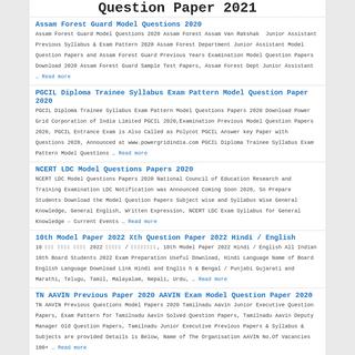 Question Paper 2021