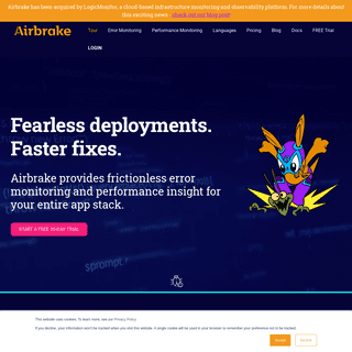 Error Monitoring & Performance Insight for Your App Stack · Airbrake