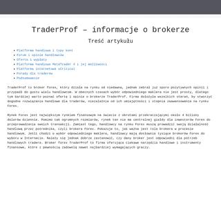 TraderProf forex broker – oferta i informacje o brokerze