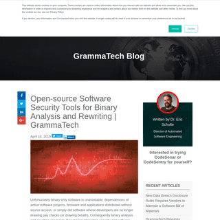 Open-source Software Security Tools for Binary Analysis and Rewriting - GrammaTech