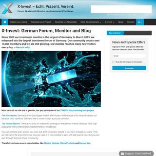 X-Invest – Echt. Präsent. Vereint. – Forum, Akademie & Monitor zum Investieren & Verdienen