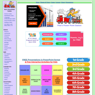 Pete`s Power Point Station - A Collection of FREE Presentations in PowerPoint format for K-12 Teachers and Students