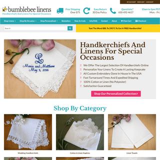 Bumblebee Linens - Wedding Handkerchiefs, Linen Napkins & Towels, Embroidery Blanks