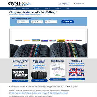 Cheap Tyres UK - Mail Order Tyres Online - CTyres.co.uk