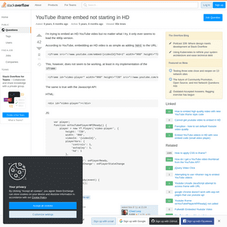 YouTube iframe embed not starting in HD - Stack Overflow