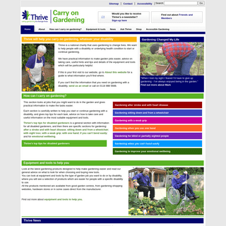 Carry on Gardening, Thrive`s top tips and tools for easier gardening and gardening with a disability