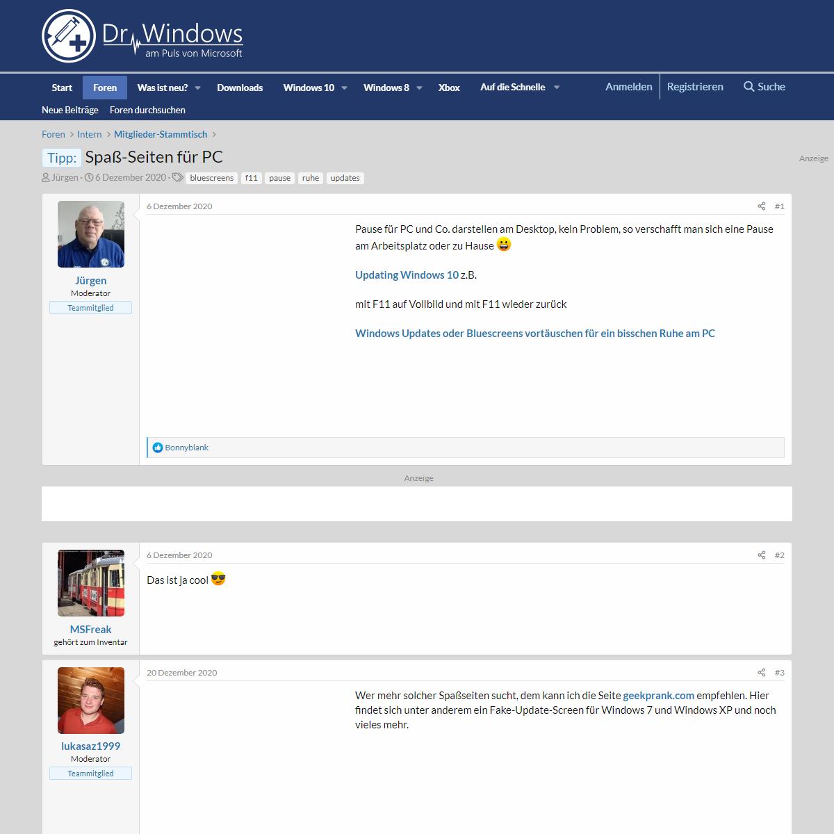 Tipp- - Spaß-Seiten für PC - Dr. Windows