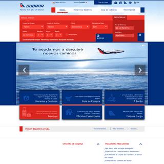 Cubana de Aviación- Vuelos y pasajes baratos en cubana.cu