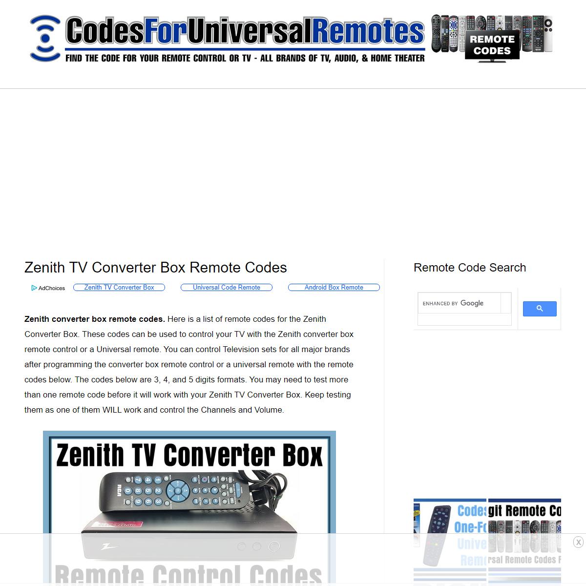 Zenith TV Converter Box Remote Codes - Codes For Universal Remotes