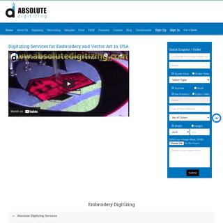 Absolute Digitizing - $1 - 1000 Stitches Embroidery Digitizing Service