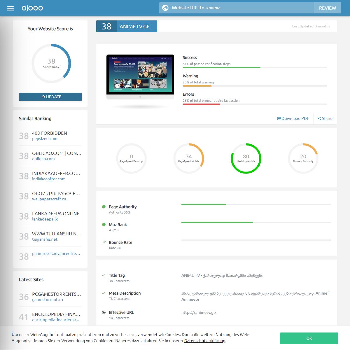 Animetv.ge - SEO Checker - Website Review