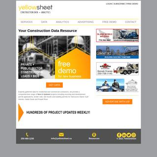 Yellow Sheet Construction Data Vancouver Island