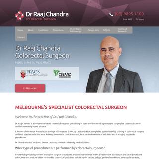 Colorectal Surgeon Melbourne - Colorectal Surgery Clinic - Dr Raaj Chandra
