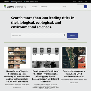 Search more than 200 leading titles in the biological, ecological, and environmental sciences.