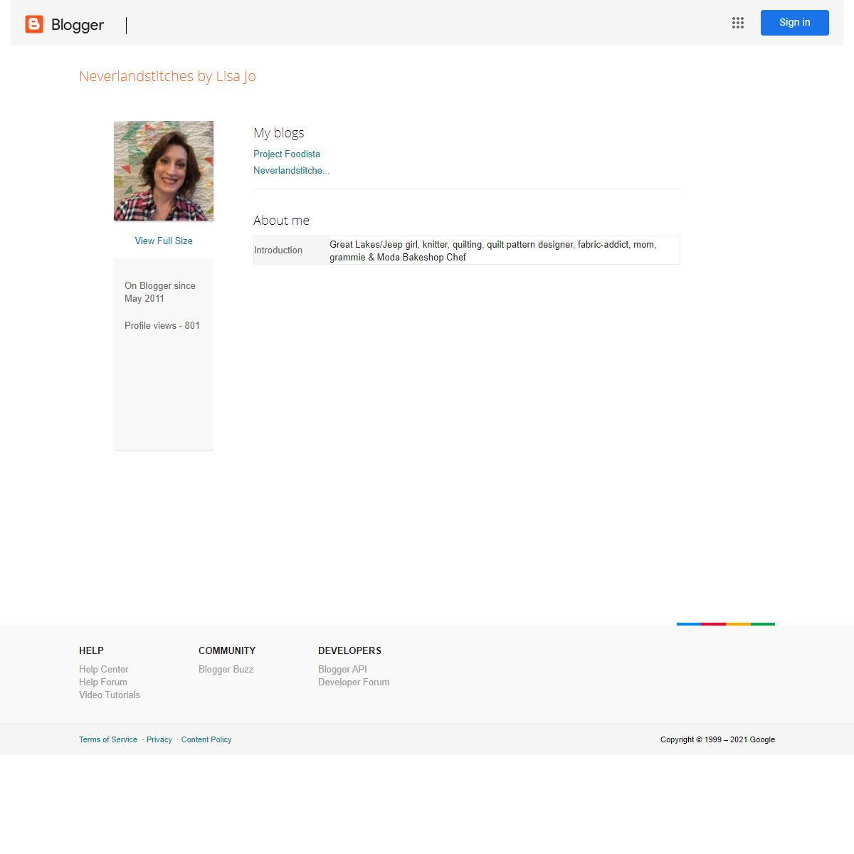 Blogger- User Profile- Neverlandstitches by Lisa Jo