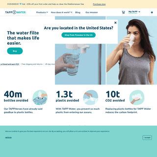 TAPP Water - The best water filter for clean, tasty water straight from the tap