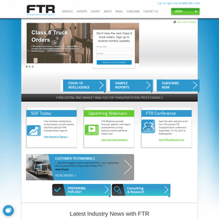 Welcome! Transportation Intelligence - Freight Analysis - Forecasting