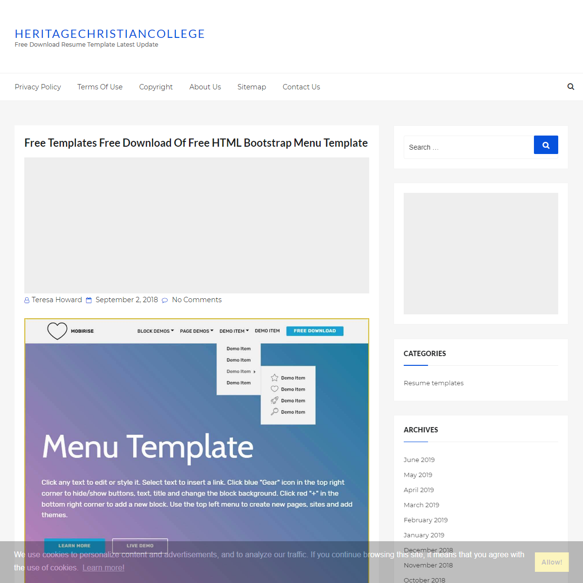 Free Templates Free Download Of Free HTML Bootstrap Menu Template - Heritagechristiancollege