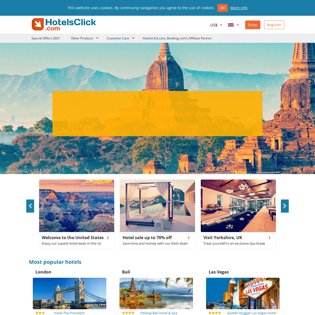 Hotel Reservations, book with HotelsClick.com - Cheap to Luxury Hotels