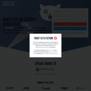 The Internet Defense League - Protecting the Free Internet since 2012.