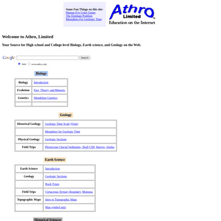 Science Education on the Web - Athro, Limited