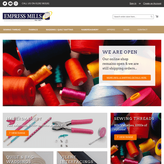Empress Mills - Sewing Thread, Haberdashery, Embroidery, Fabric & More