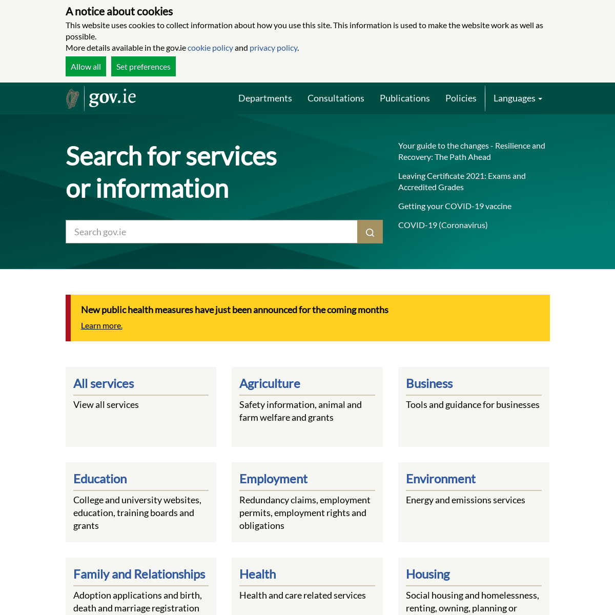 gov.ie - Search for services or information