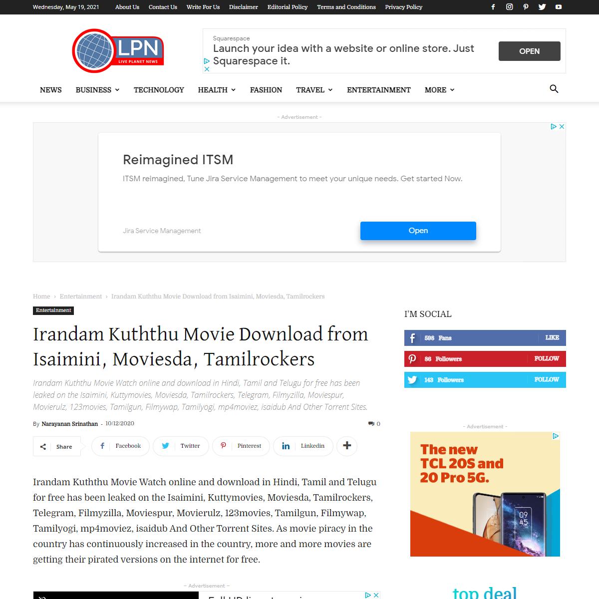 Irandam Kuththu Full Movie Download on Tamilrockers, Isaimini, Moviesda - Live Planet News