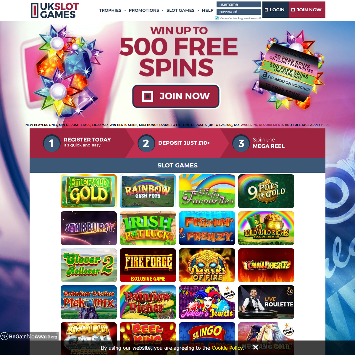 UK Slots Games - 500 Free Spins - Play Now