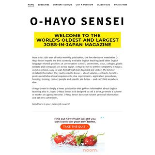 O-HAYO SENSEI - O-Hayo Sensei- The Newsletter of (Teaching) Jobs in Japan