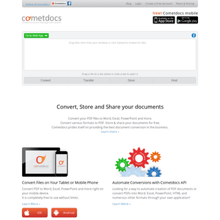 Cometdocs File Converter. Convert Excel to Word and more.