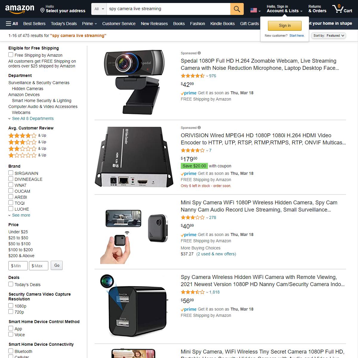 Amazon.com - spy camera live streaming