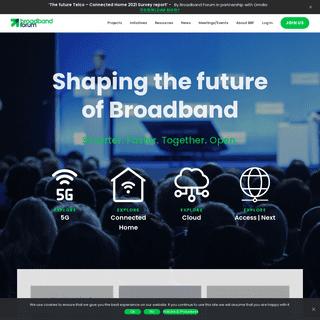 Shaping the future of Broadband - Broadband Forum
