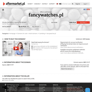 Offer to sell domain- fancywatches.pl