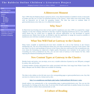 The Baldwin Online Children`s Literature Project...Bringing Yesterday`s Classics to Today`s Children