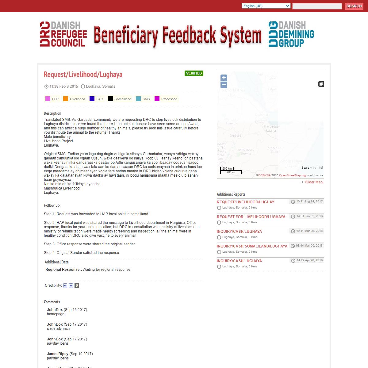 Request-Livelihood-Lughaya - Danish Refugee Council Beneficary Feedback System
