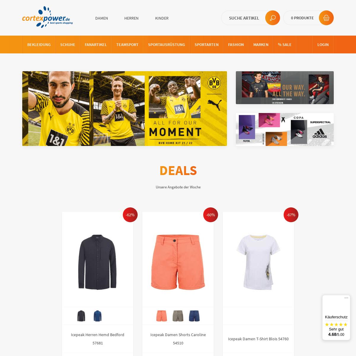 Sportshop für Sportbekleidung, Sportartikel & Mode - cortexpower.de