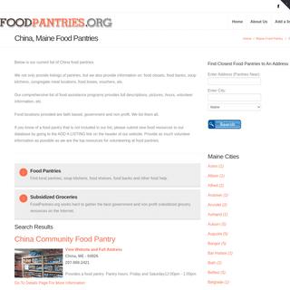 China ME Food Pantries - China Maine Food Pantries, Food Banks, Soup Kitchens