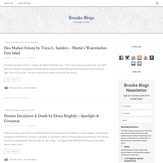 Brooke Blogs - Live, Laugh, Love, Read