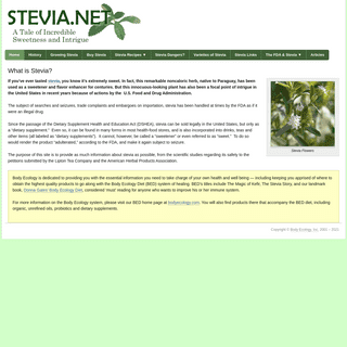 Stevia Sugar Substitute - Body Ecology