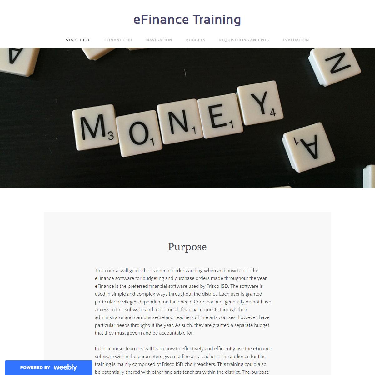 eFinance Training - Start Here