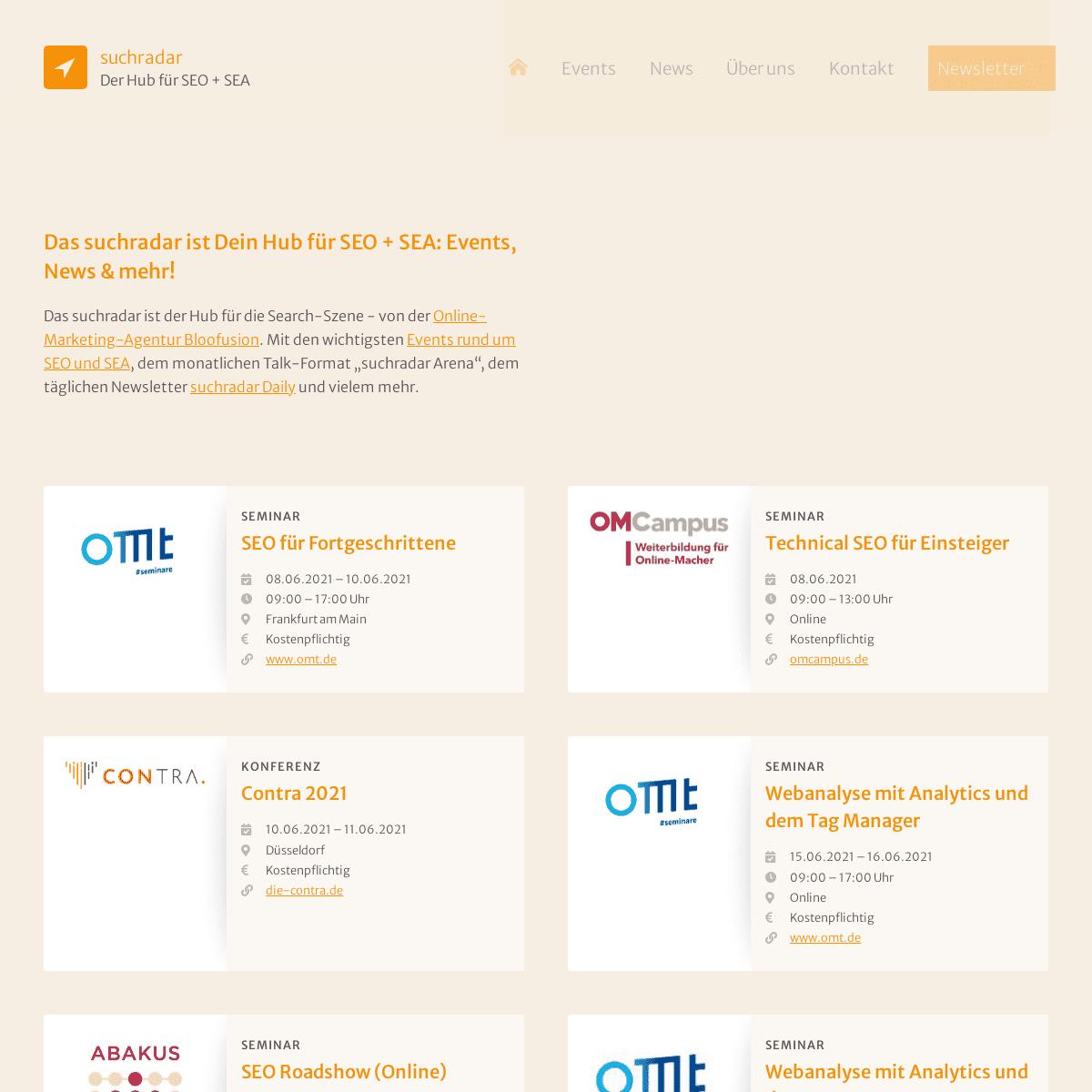 Der Hub für SEO und SEA- Events, News + mehr - suchradar