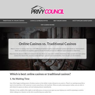 Online Casinos VS Traditional Casinos - Privy-council.org.uk