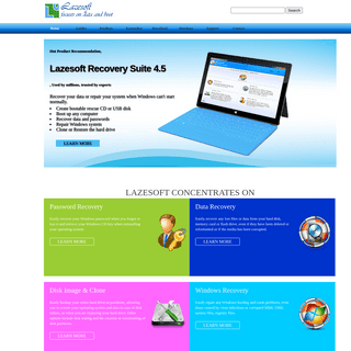 Lazesoft Recovery Suite - Windows Recovery, Password Recovery, Data Recovery, System Recovery for Windows XP VISTA 7 8 10 2003 2